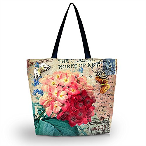 ICOLOR Beautiful Flower Large Reusable Eco-friendly Shopping Bag Handle case Bag School Shopping Large Grocery shoulder bag Reusable Portable Storage HandBags Convenient Shoppers Tote YGWB-41
