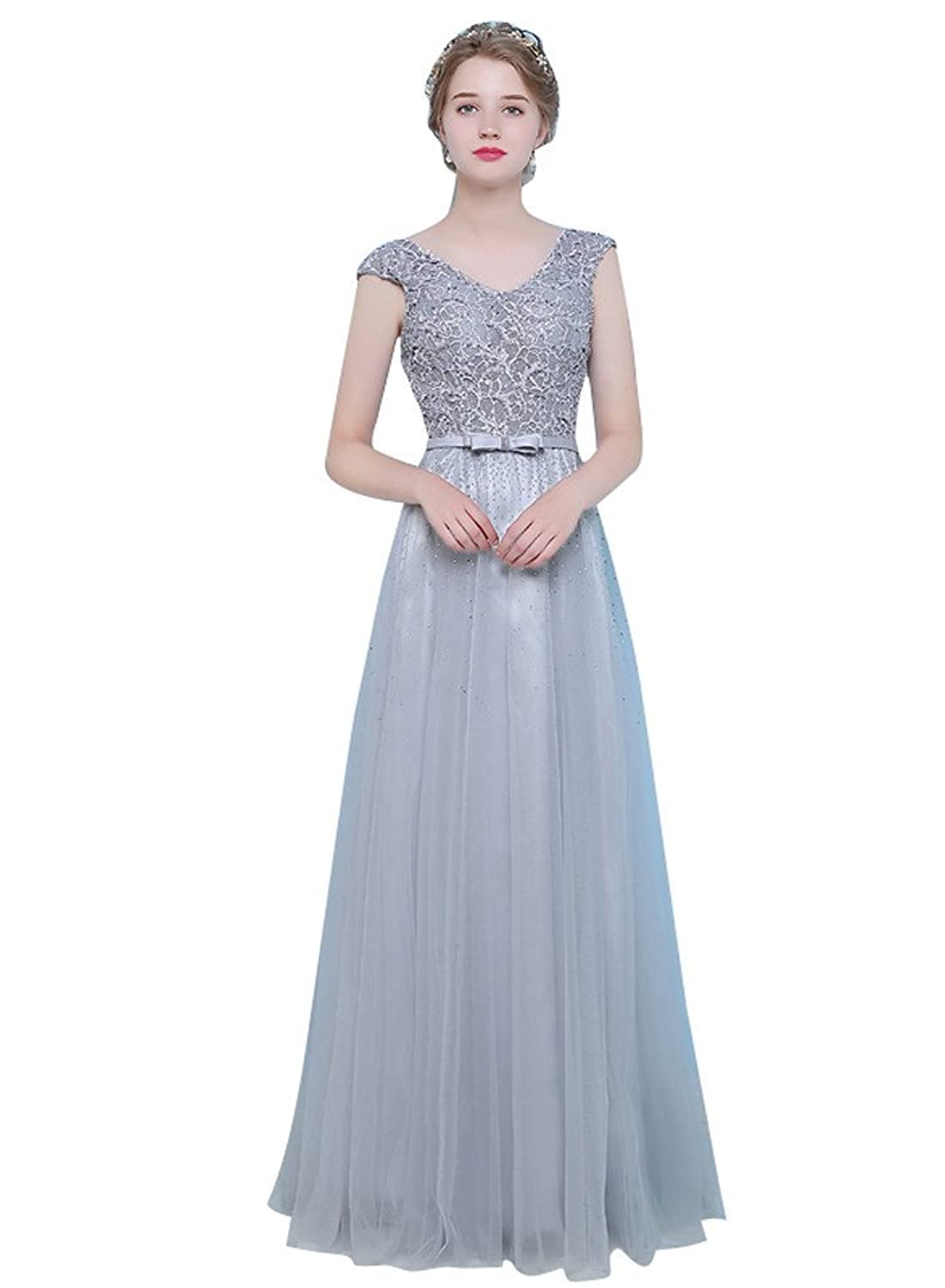 ShiYuan Women's A Line V Neck Beaded Long Lace Evening Formal Dresses