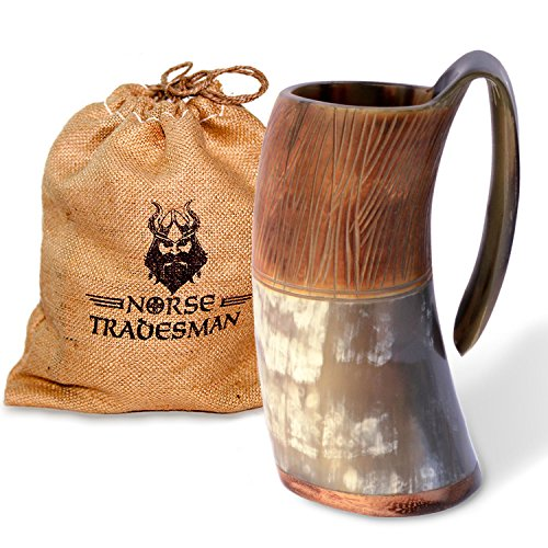 "Norse Tradesman Genuine Viking Drinking Horn Mug - 100% Authentic Beer Horn Tankard w/ Intricate Engravings | ""The Jarl"""