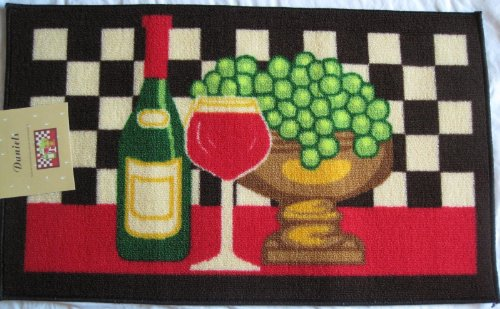 Red Wine Grapes Kitchen Rug Mat (Kitchen Rug Wine Grapes compare prices)