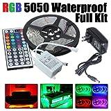 New DIY, 5M RGB 5050 Waterproof LED Strip light SMD 44 Key Remote 12V,US Power Adapter, Full Kit