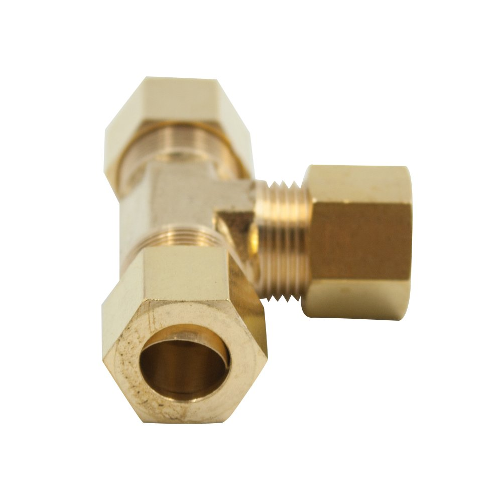 1//8 x 1//8 x 1//8 Tube OD Vis Brass Compression Tube Fitting Tee Pack of 1