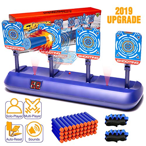 Electronic Scoring Auto Reset Shooting Digital Target for Nerf Guns Toys with 40 Pcs Refill Darts and 2 Hand Wrist Bands, Ideal Christmas Gift Toy for Kids, Teens, Boys & Girls(2019 Update Version) (Teens Gifts For 2019 Christmas)