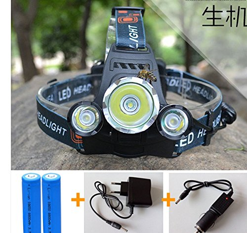 Rechargeable 6000lm Cree XML T6+2r5 LED Headlight Headlamp Head Lamp Light 4-mode Torch +2x18650+eu/us Car Charger for Fishing Lights