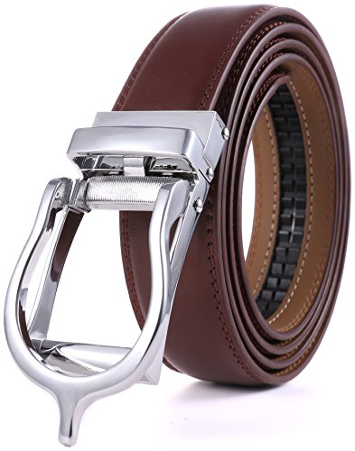 Marino Men's Genuine Leather Ratchet Dress Belt with Open Linxx Buckle, Enclosed in an Elegant Gift Box - Brown - Style 150 - Custom: Up to 44