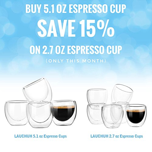 Espresso Glass Shot Cup Double Wall Thermo Insulated, 5.1 ounces(150ml) Set of 4 by LAUCHUH (Image #3)