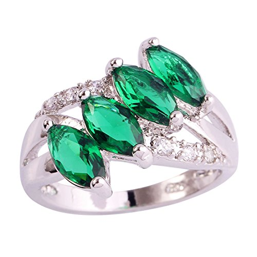 (Emsione Created Emerald Quartz 925 Silver Plated CZ Ring for Women)