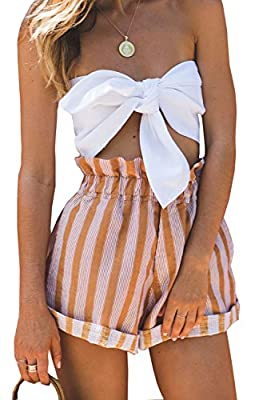 leveltech Women Tie Closure Summer Silky Strapless Off Shoulder Bow Tie Bandeau Crop Tube Top