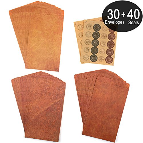 ADVcer 4.8x7.9 inch 30 Pack Vintage Kraft Paper Envelopes w/40pcs Rustic Craft Letter Envelope Seal Stickers (3 Different Styles and Colors Envelope of Retro Amber, Classic Brown, Antique Rust-like)