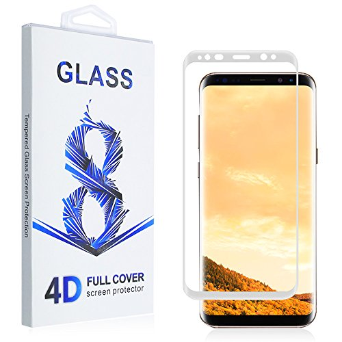 T J Exclusives Screen Protector For Samsung Galaxy S8   3D Full Screen Coverage Curved Edge Ultra Clear Anti Scratch Tempered Glass Screen Protector For Samsung Galaxy S8  White