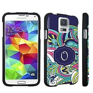 DuroCase ? Samsung Galaxy S5 Hard Case Black - (Mint Flower Monogram O)