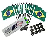 BOX of 12 Brazil 4''x6'' Miniature Desk & Table Flags With 12 Flag Stands, 4x6 Brazilian Small Mini Stick Flags