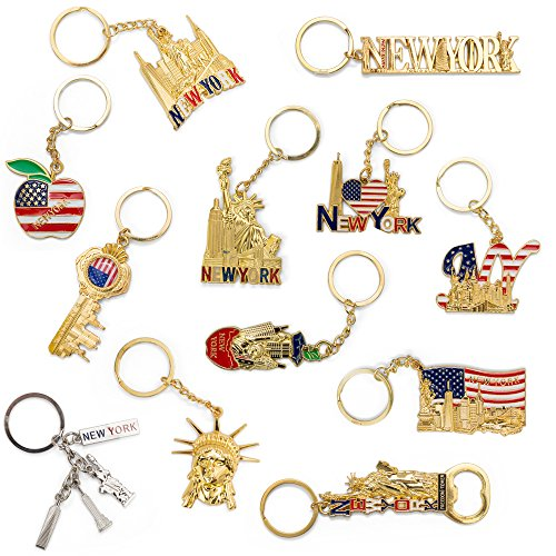 NYC Souvenir Keychain Collection - Set Of 12 Includes Empire State, Freedom Tower, Statue Of Liberty, USA Flag, NY Cab, And More (New York Souvenirs Keychains)