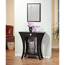 Cappuccino Finish Console Sofa Entry Table with Drawer