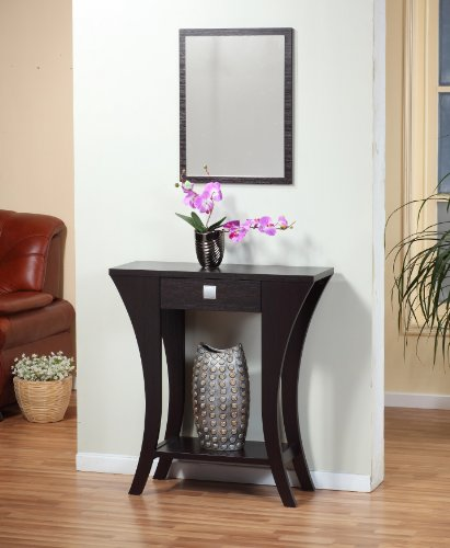 Cappuccino Finish Console Sofa Entry Table with Drawer - Entry Accent Table