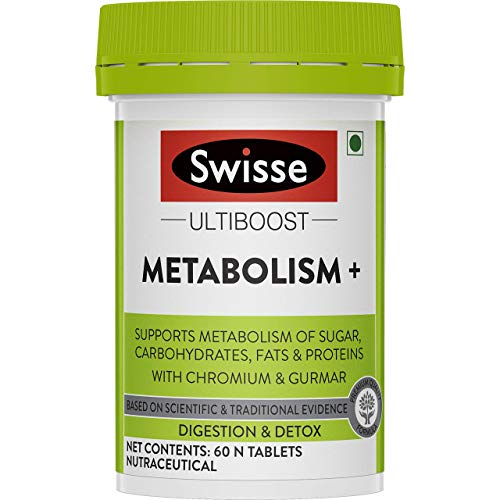 Swisse Ultiboost Metabolism+ With Chromium – For Digestion, Detox and Healthy Blood Sugar Levels – 60 N Tablets (Vegan Supplement)