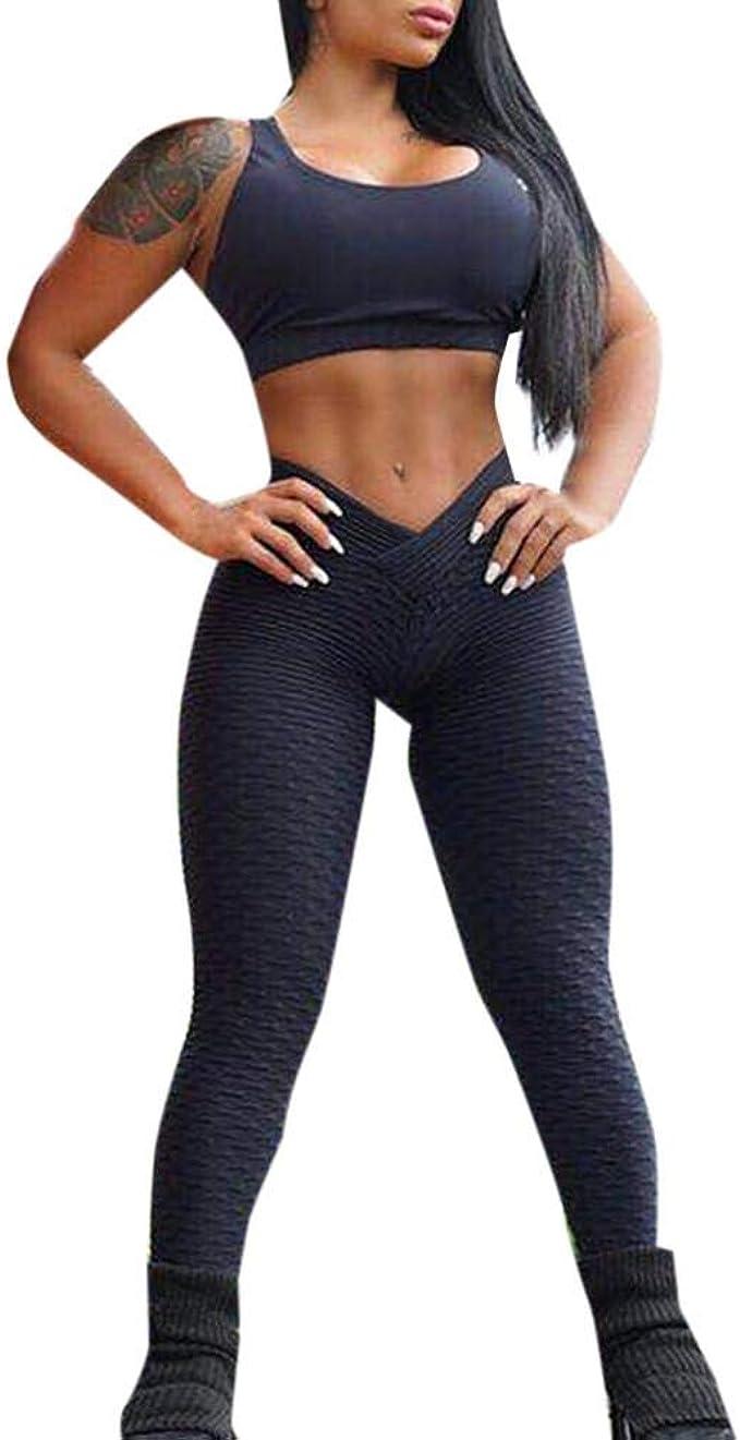 Mujeres Yoga Leggings Fitness Pantalones Deportivos de Cintura ...