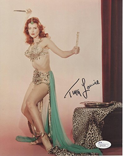 TINA LOUISE HAND SIGNED 8x10 COLOR PHOTO GORGEOUS+SEXY POSE AS REDHEAD - JSA Certified