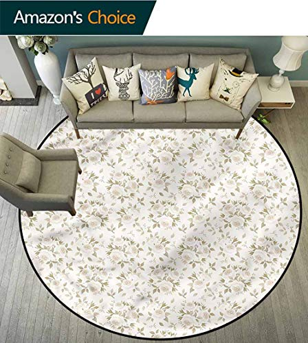 RUGSMAT Ivory Area Rugs Ring 3D Non-Slip Rug,Blossoms Petals Essence Bedroom Home Shaggy Carpet Diameter-63