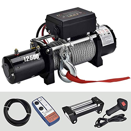 SUNCOO Electric Waterproof Warn ATV/UTV/SUV Winch-12500lb.Load Capacity with Wireless Remote Control Rope