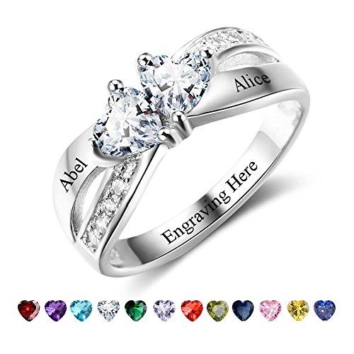 9eb8ae8c390e Personalizado Love corazón pareja anillos para su mujer de simular el nudo  (compromiso promesa anillos