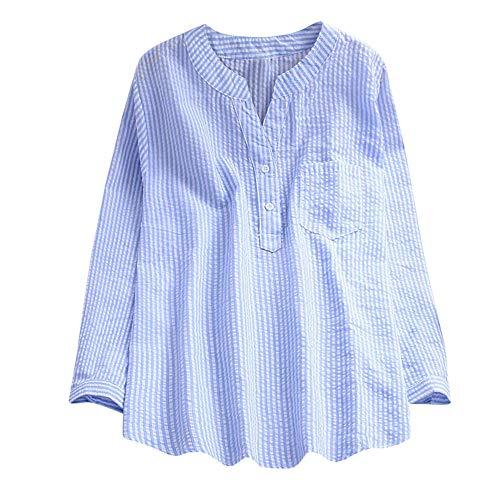 Women Tops, ANJUNIE Long Sleeve Loose Cotton V-Neck Shirt Fashion Slim T-Shirt(Blue1,XXXL) (Poker Boxers)