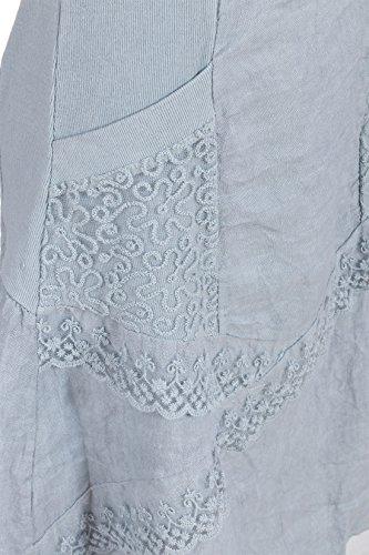 Italienische Mode Gsfashion Leinenkleid Damen Sommer Mit Spitze Am
