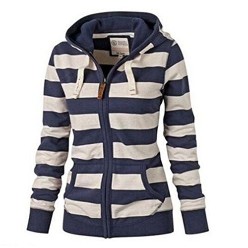 TraveT Striped Zippered Sweatshirt Jackets