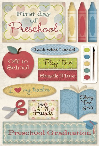 School Embellishment (Karen Foster Design Acid and Lignin Free Scrapbooking Sticker Sheet,)