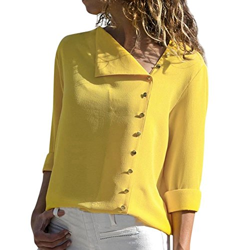 iDWZA Womens Ladies Fashion Solid Lapel Neck T Shirt Long Sleeve Buckle Blouse Tops (Yellow, - Flag Tank Confederate