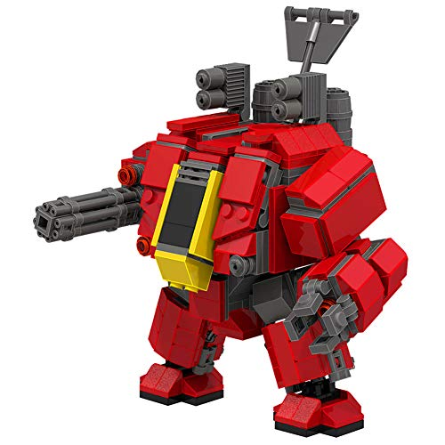 LionMoc Walking War Squadron Two-Legged Combat Robot Mecha Compatible with Lego Building Set Moc DIY Building Block Machine (Walking War Squadron-Red)