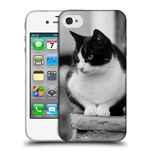 Just Phone Cases Coque de Protection TPU Silicone Case pour // V00004183 Chat noir et blanc sur les escaliers // Apple iPhone 4 4S 4G