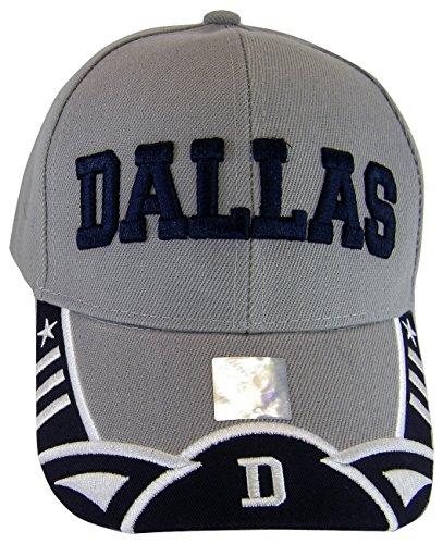 BVE Sports Novelties Dallas Texas Men's Stars & Stripes Adjustable Baseball Cap (Script Gray/Navy) ()