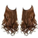 Halo Hair Extension Hidden Light Auburn Transparent Wire Headband Adjustable Wavy Curly Long Synthetic Hairpiece 18 Inch 4.2 Oz for Women Heat Friendly Fiber No Clip SARLA (M01&30#)