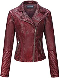 Women's Faux Leather Short Jacket,Distressed Retro Frosted Moto Casual Coat