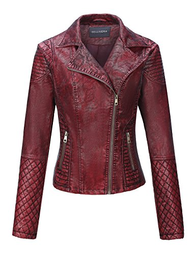 Bellivera Women's Faux Leather Short Jacket,Frosted Moto Casual Coat (Womens Maroon Leather Jacket)