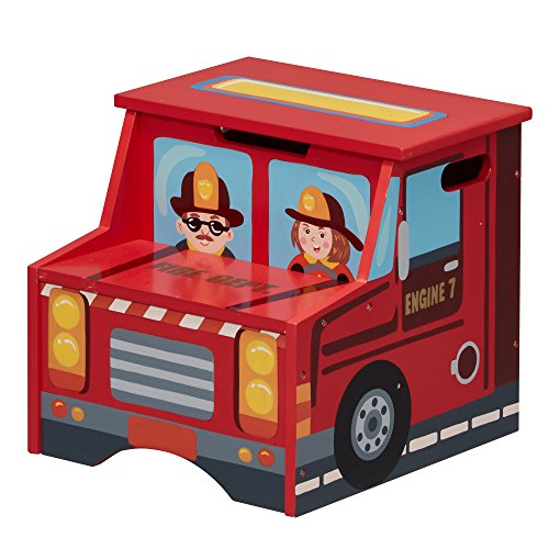 Fantasy Fields Little Fire Fighters Themed Kids Wooden Step Stool with Storage Hand Lead Free Water-Based Paint