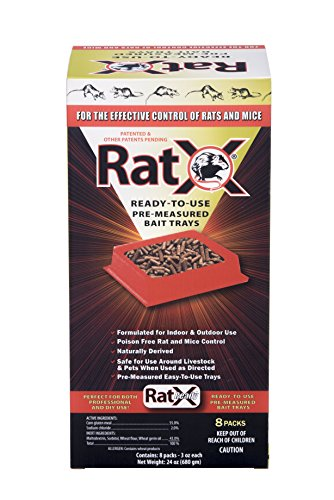 (EcoClear Products 620106, RatX All-Natural Non-Toxic Humane Rat and Mouse Killer Pellets, Ready-To-Use Pre-Measured 3 oz. Bait Trays, 8-Pack)