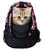 Pet Carrier Backpacks Adjustable Dogs Cats Travel Carriers for Walking, Hiking, Bike and Motorcycle (Flag)