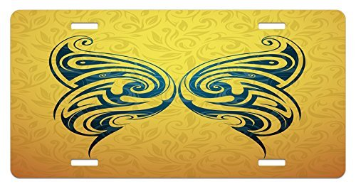 zaeshe3536658 Tattoo License Plate, Blue Colored Tribal Designed Free Butterfly Symbol of and Freedom Artwork Print, High Gloss Aluminum Novelty Plate, 6 X 12 Inches, Blue and Yellow by zaeshe3536658