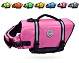 Vivaglory Dog Life Jacket Size Adjustable Dog Lifesaver Safety Reflective Vest Pet Life Preserver, Pink, Small