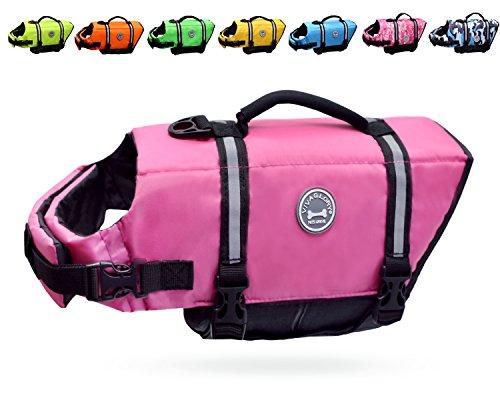 Vivaglory Dog Life Jacket Size Adjustable Dog Lifesaver Safety Reflective Vest Pet Life Preserver, Pink, Small from Vivaglory