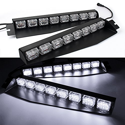 48LED 48W LED Lightbar Visor Light Windshield Emergency Hazard Warning Strobe Beacon Split Mount Deck Dash Lamp (White)