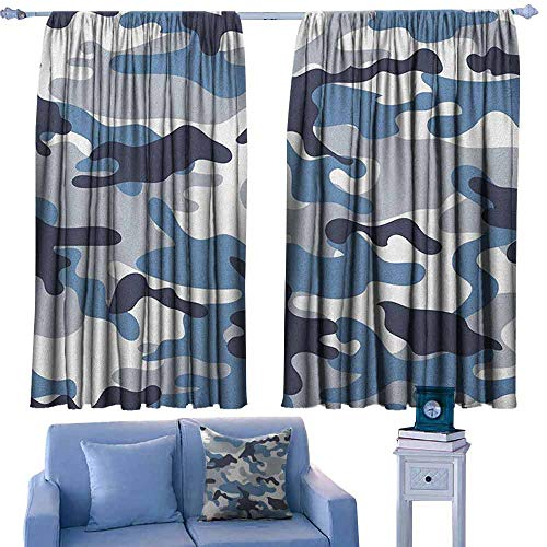 ParadiseDecor Camouflage Rod Pocket Indo Curtain Illustration with Abstract Soft Colors Pattern Camouflage Design,Curtains for Kids' Room,W52 x L72 Inch