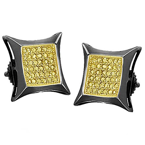 0.50 Carat (ctw) Sterling Silver Real Diamond Kite Shape Mens Hip Hop Iced Stud Earrings by DazzlingRock Collection