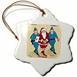 3dRose Londons Times Offbeat Cartoons Police Crimes - Police Navidad Funny Gifts - 3 inch Snowflake Porcelain Ornament (orn_28965_1)