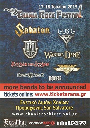 Chania Rock Festival [Flyer] 2015 (Sabaton, Gus G., Bonfire, Warrel Dane, Flotsam & (Dane Rocks)