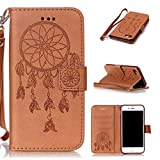 iPhone7 iPhone8 Case, CUSKING Wallet Leather Case Emboossed Pattern Design with Wrist Strap
