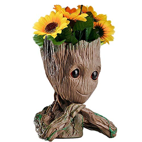 Christmas Decorations Ideas For Office (B-BEST Guardians of The Galaxy Groot Pen Pot Tree Man Pens Holder or Flower Pot with Drainage Hole Perfect for a Tiny Succulents Plants and Best Christmas Gift Idea)