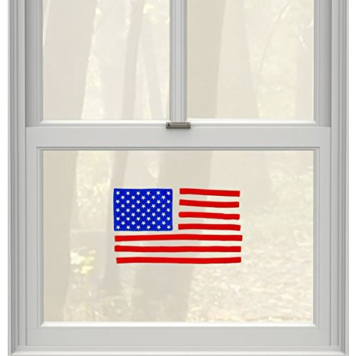 Amscan Patriotic Fourth of July Party American Flag Gel Cling Window Decoration, Multi Color, 9''x 6''